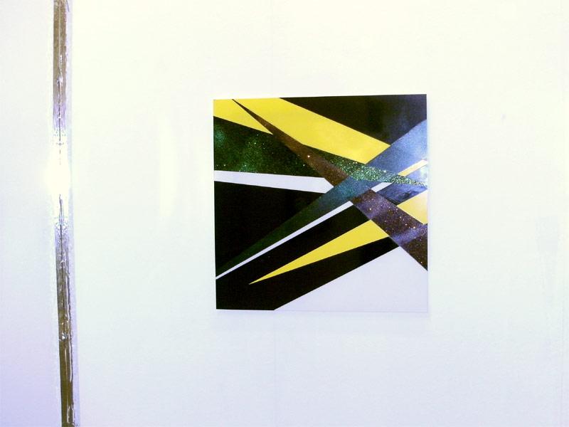 Gelbes Anzeichen // Autolack / Acryl auf Acrylglas /  75 x 75 cm/ 2009
