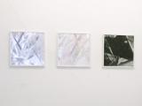 Collagen: Ohne Titel // Plastikplane / Leinwand / Sprayfarbe / Acryllack / Silber Tape / 50 x 50 cm/ 2010
