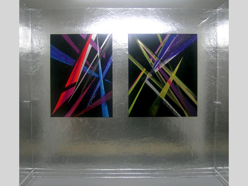 Sandra Poppe - Supernova I + II // Acryl / Autolack auf Leinwand / 2008