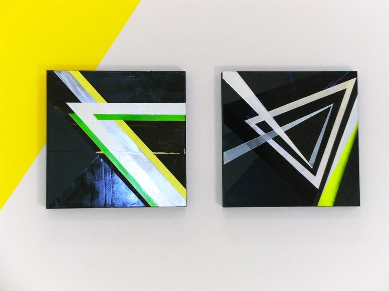 Sandra Poppe - links: Grünster Winkel // rechts: Prisma // Acryllack auf MDF / 50 x 50 cm/ 2010