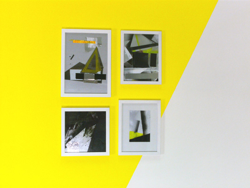 Sandra Poppe - Collagen: Gelbe Pyramide/ Synthetische Farbe/ Suprematistische Formen/ Farbige Gruppe// Lack/ Folien/ Photopapier/ 2010